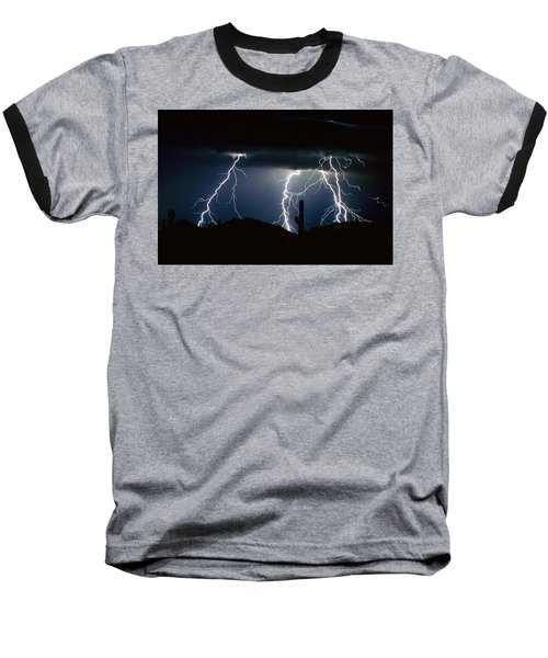 4 Lightning Bolts Fine Art Photography Print Baseball T-Shirt