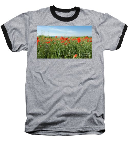 Meadow With Red Poppies Baseball T-Shirt