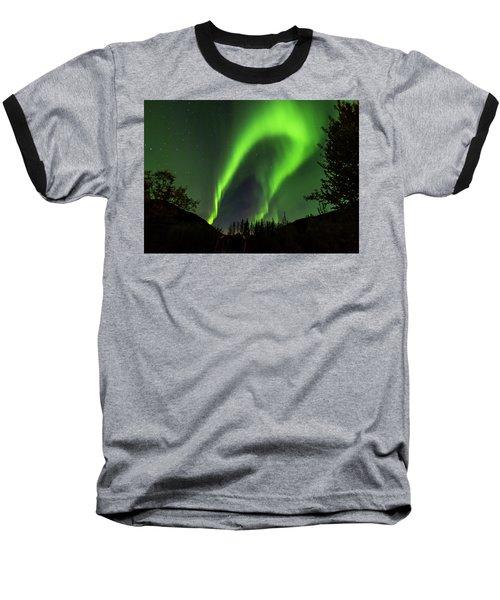 Northern Lights, Aurora Borealis At Kantishna Lodge In Denali National Park Baseball T-Shirt by Brenda Jacobs