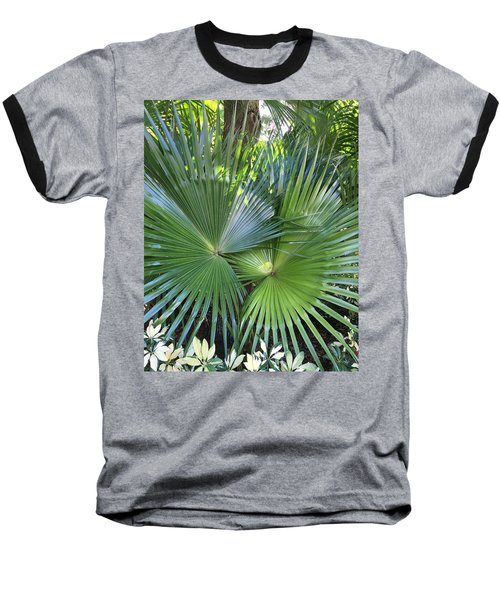 Palm Fronds Baseball T-Shirt by Kay Gilley