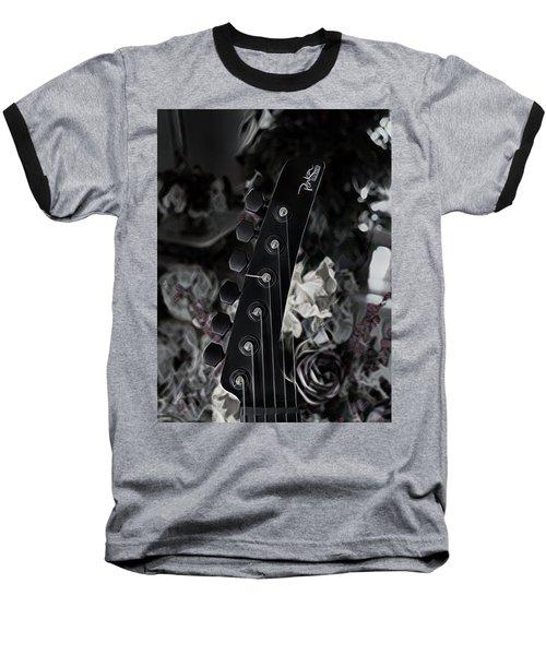 Baseball T-Shirt featuring the digital art Parker Fly Guitar Headstock by Guitar Wacky
