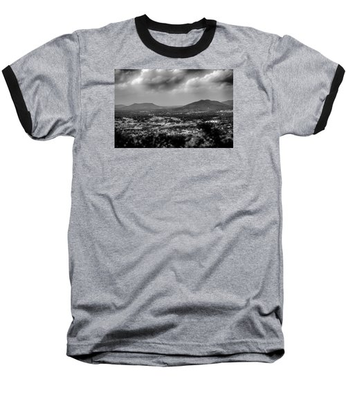 Roanoke City As Seen From Mill Mountain Star At Dusk In Virginia Baseball T-Shirt