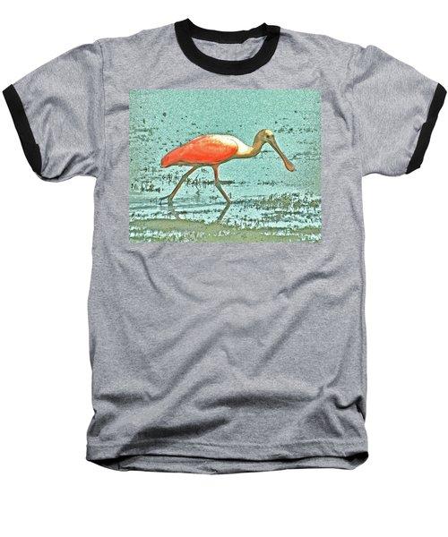 Baseball T-Shirt featuring the digital art 4- Roseate Spoonbill by Joseph Keane