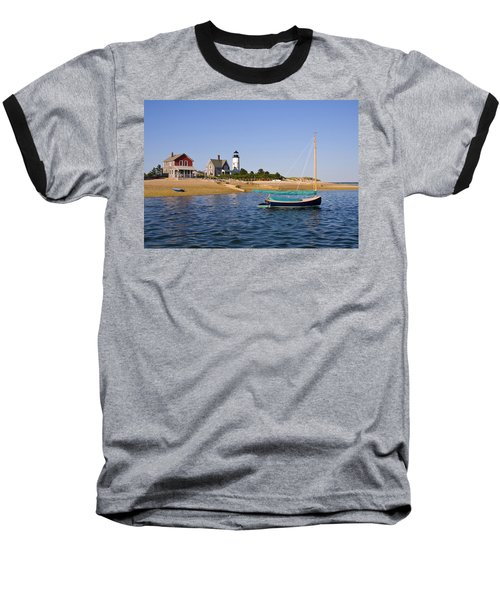 Sandy Neck Lighthouse Baseball T-Shirt by Charles Harden