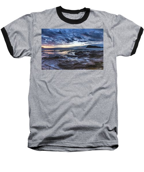 Seascape Cloudy Nightscape Baseball T-Shirt