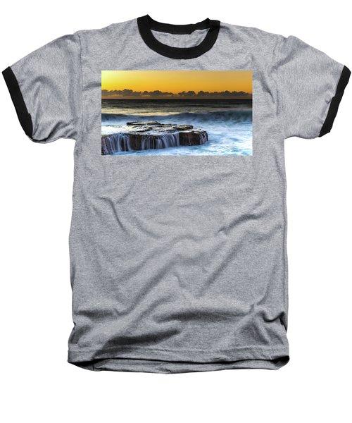 Sunrise Seascape With Cascades Over The Rock Ledge Baseball T-Shirt