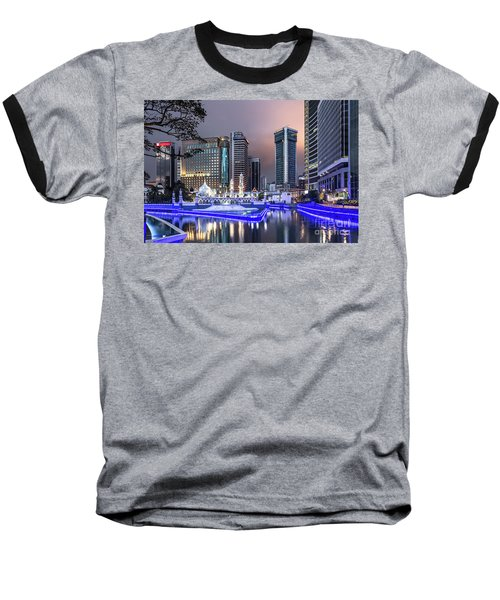 The Office Buildings Reflects In The Water Of The Klang River In Baseball T-Shirt