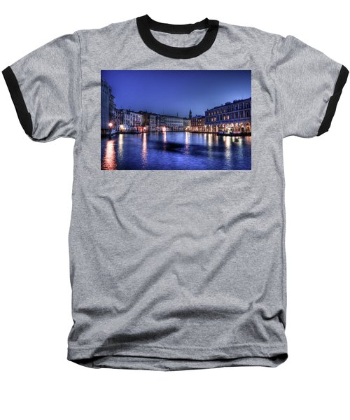 Venice By Night Baseball T-Shirt by Andrea Barbieri
