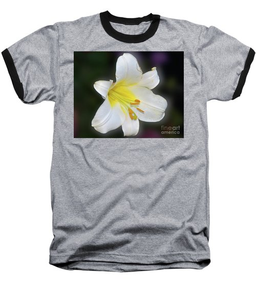 Baseball T-Shirt featuring the photograph White Lily by Elvira Ladocki