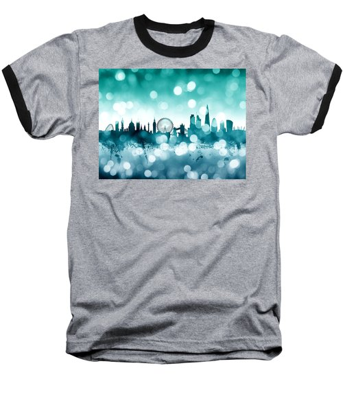 London England Skyline Baseball T-Shirt by Michael Tompsett