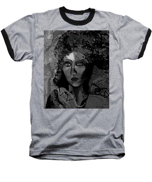 Baseball T-Shirt featuring the digital art 455 - Dark Dreamer by Irmgard Schoendorf Welch