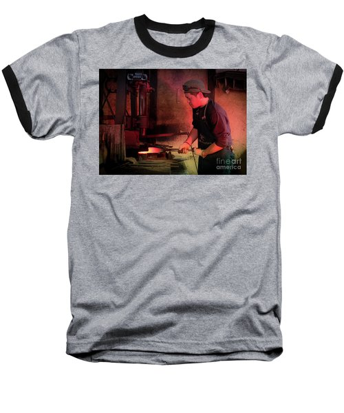 Baseball T-Shirt featuring the photograph 4th Generation Blacksmith, Miki City Japan by Perry Rodriguez
