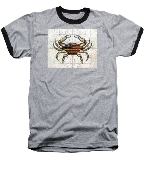 4th Of July Crab Baseball T-Shirt by Charles Harden
