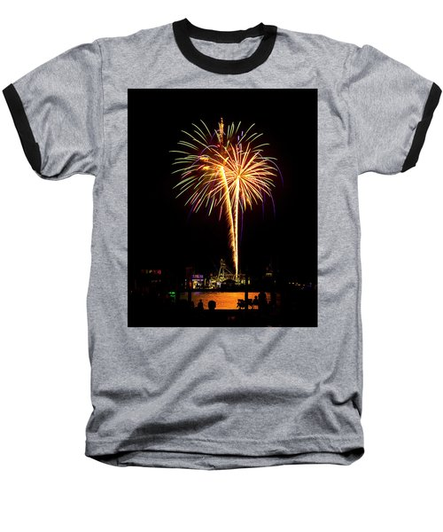 4th Of July Fireworks Baseball T-Shirt by Bill Barber