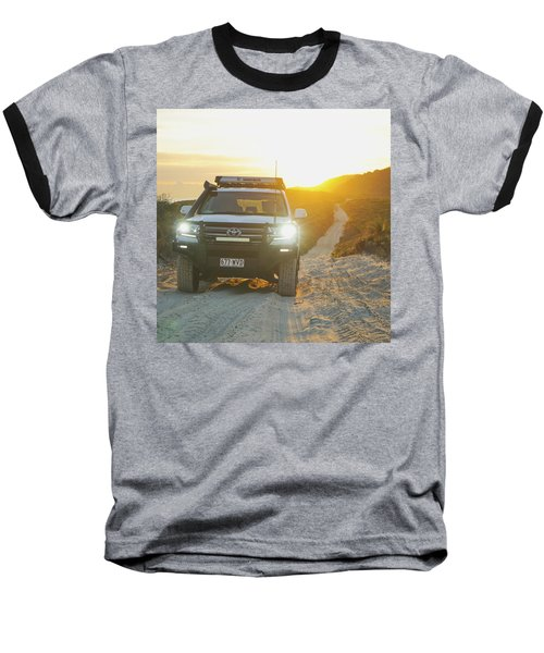 4wd Car Explores Sand Track In Early Morning Light Baseball T-Shirt