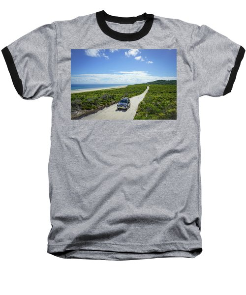 4wd Car Exploring Remote Track On Sand Island Baseball T-Shirt