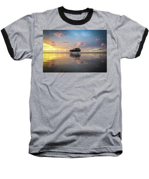 4wd Vehicle And Stunning Sunset Reflections On Beach Baseball T-Shirt