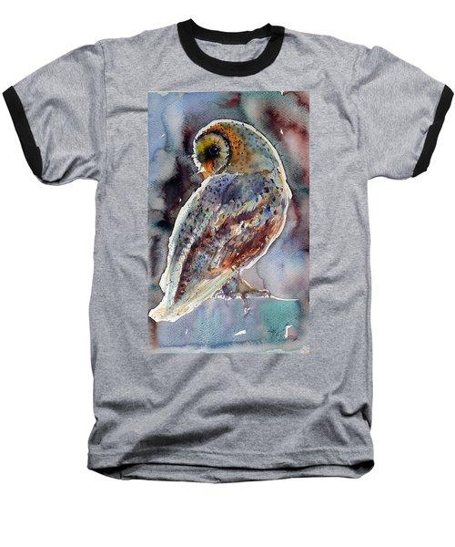 Barn Owl Baseball T-Shirt by Kovacs Anna Brigitta
