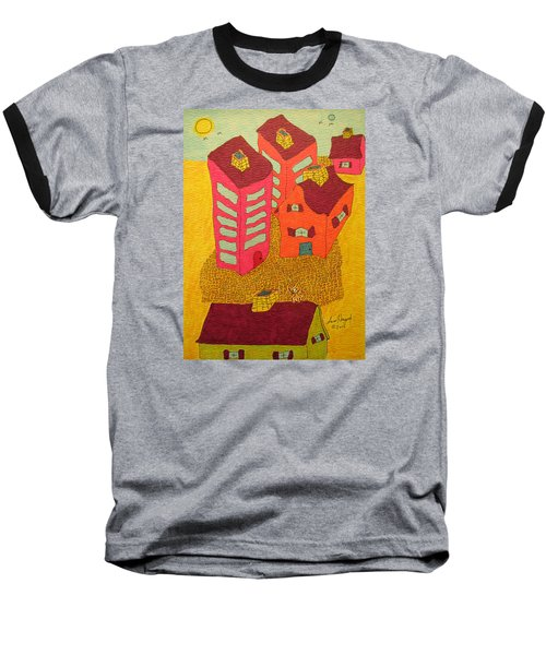 5 Bldgs Cat On One Roof Baseball T-Shirt