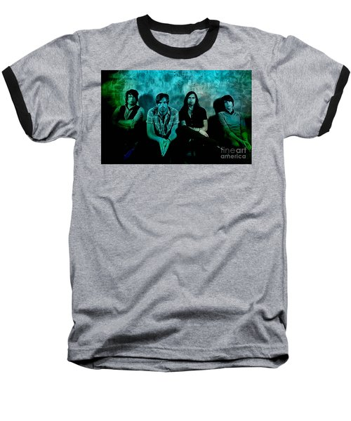 Baseball T-Shirt featuring the mixed media Kings Of Leon by Marvin Blaine