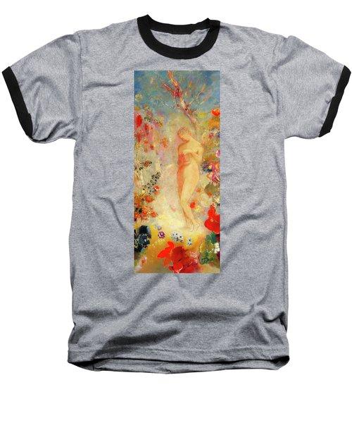 Baseball T-Shirt featuring the painting Pandora by Odilon Redon