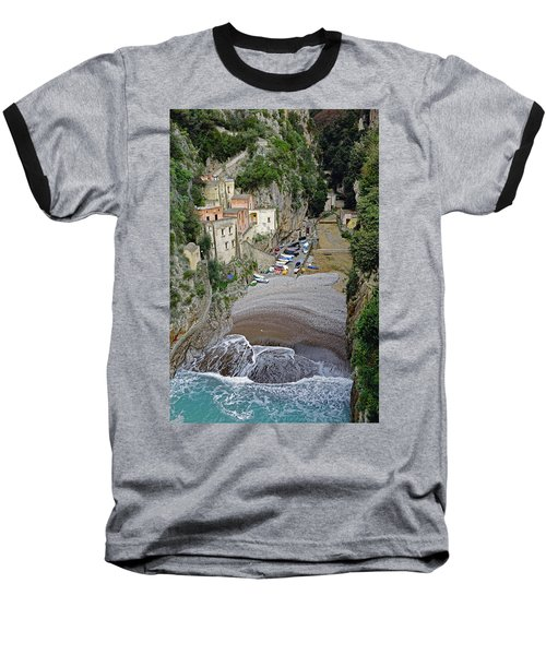 This Is A View Of Furore A Small Village Located On The Amalfi Coast In Italy  Baseball T-Shirt