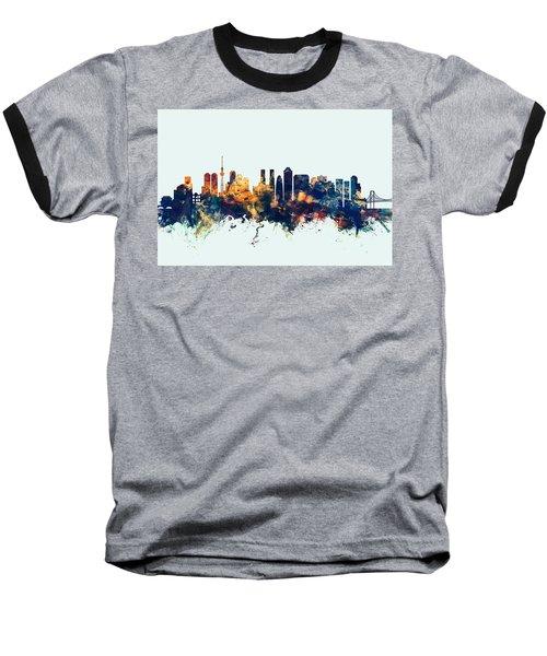 Tokyo Japan Skyline Baseball T-Shirt by Michael Tompsett