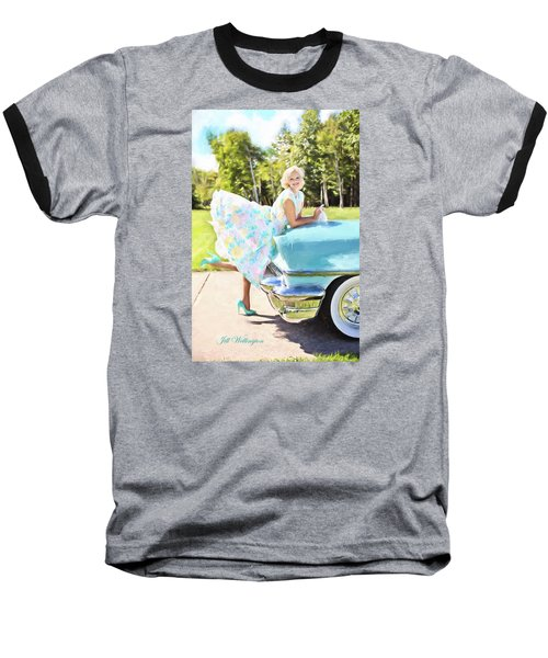 Vintage Val In The Turquoise Vintage Car Baseball T-Shirt by Jill Wellington