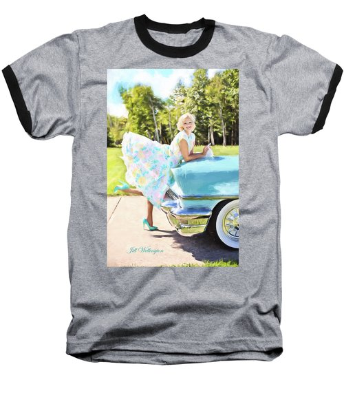 Vintage Val In The Turquoise Vintage Car Baseball T-Shirt