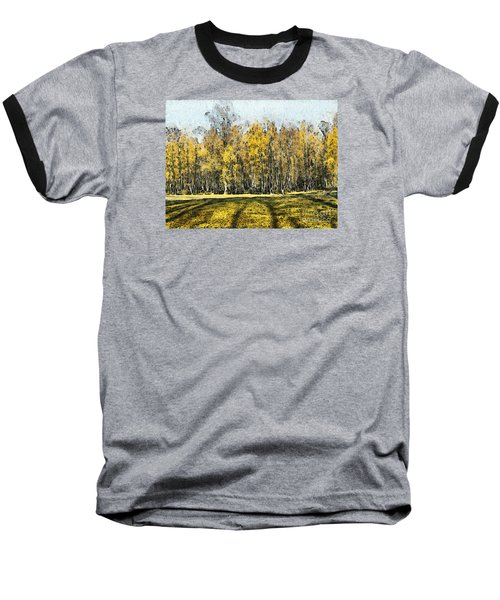 Watercolor Landscape Autumn Painting Forest Baseball T-Shirt by Odon Czintos