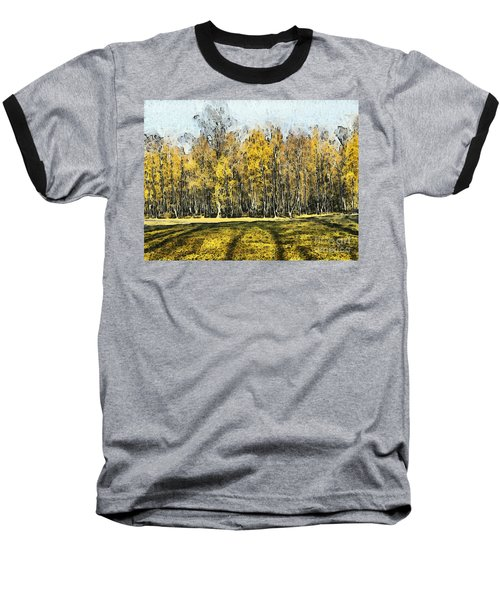 Watercolor Landscape Autumn Painting Forest Baseball T-Shirt