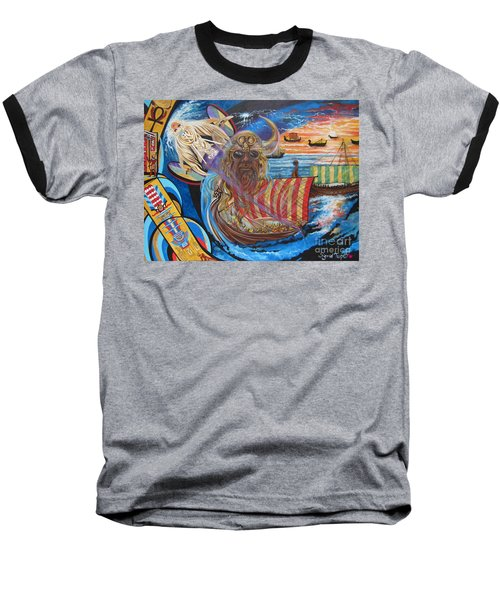 Baseball T-Shirt featuring the painting 500 Empires Never Die - Odin by Sigrid Tune