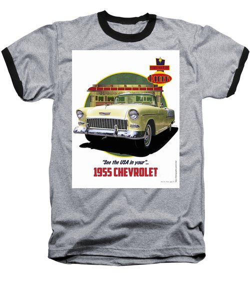 Baseball T-Shirt featuring the drawing 55 Chevy by Kenneth De Tore
