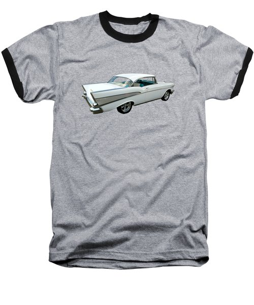 57 Chevy Bel-air Hardtop In Silver And White Baseball T-Shirt