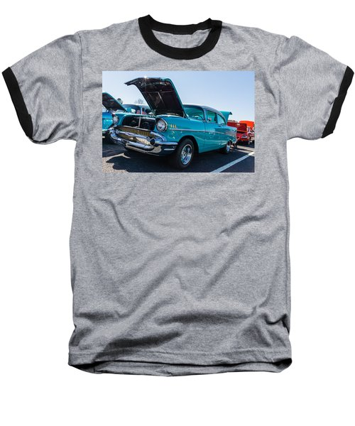Baseball T-Shirt featuring the photograph 57 Chevy - Ehhs Car Show by Michael Sussman