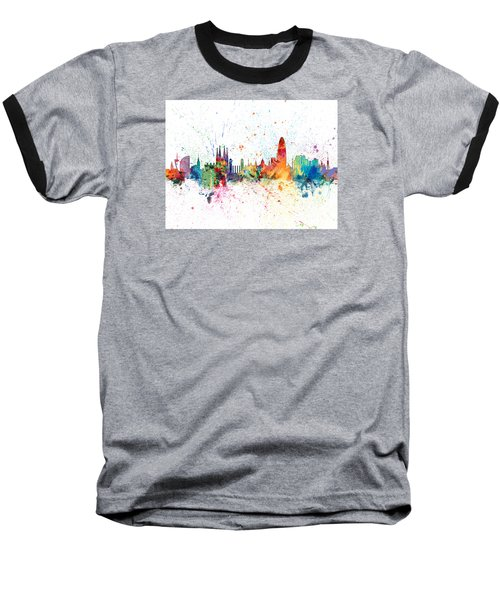 Barcelona Spain Skyline Baseball T-Shirt