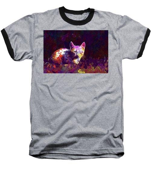 Baseball T-Shirt featuring the digital art Cat Eye Injury One Eye Village  by PixBreak Art