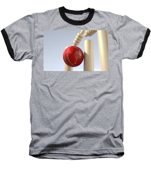 Cricket Ball Hitting Wickets Baseball T-Shirt by Allan Swart