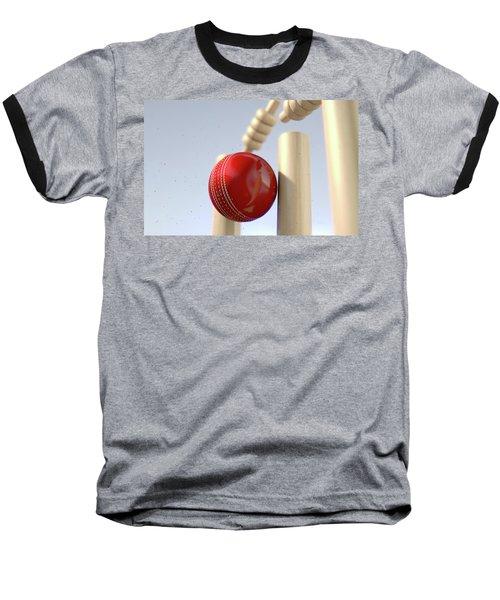 Cricket Ball Hitting Wickets Baseball T-Shirt by Allan Swart