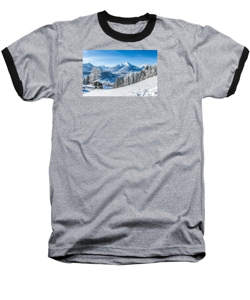 Snowy Landscape In The Alps Baseball T-Shirt