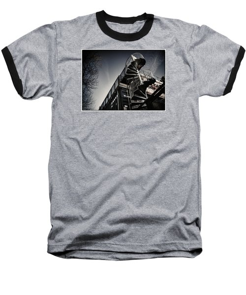 Baseball T-Shirt featuring the photograph Pop Brixton - Spiral Staircase - Industrial Style by Lenny Carter