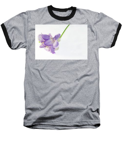 Purple Freesia Baseball T-Shirt by Elvira Ladocki