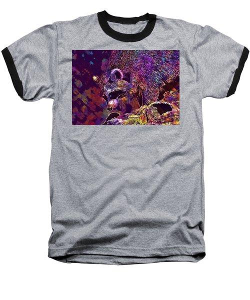 Baseball T-Shirt featuring the digital art Raccoon Wild Animal Furry Mammal  by PixBreak Art