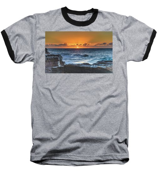 Sunrise Seascape With Sun Baseball T-Shirt
