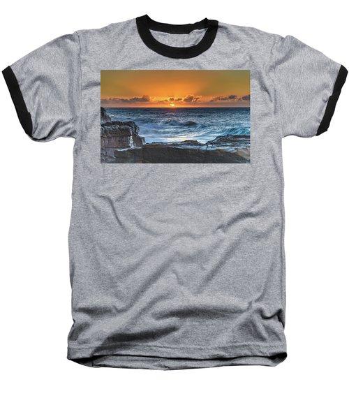 Sunrise Seascape With Sun Baseball T-Shirt