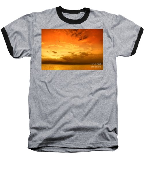 Sunset  Baseball T-Shirt by Charuhas Images