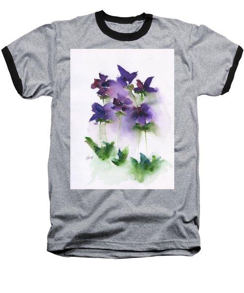 6 Violets Abstract Baseball T-Shirt by Frank Bright