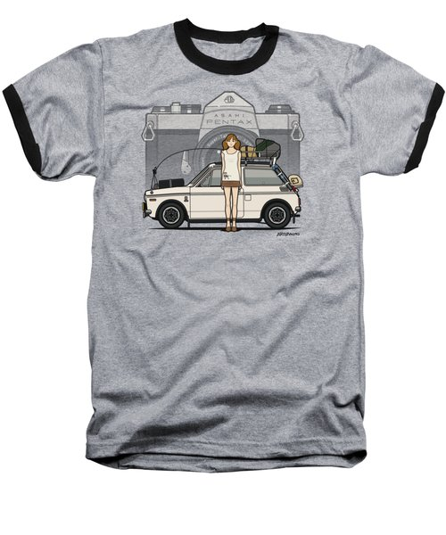 Honda N600 Rally Kei Car With Japanese 60's Asahi Pentax Commercial Girl Baseball T-Shirt by Monkey Crisis On Mars