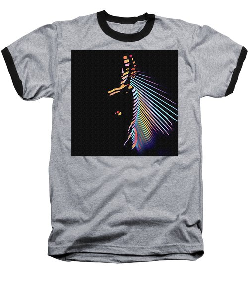 6580s-nlj Woman In Shadows By Window Zebra Striped Rendered In Composition Style Baseball T-Shirt
