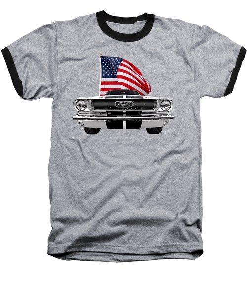 66 Mustang With U.s. Flag On Black Baseball T-Shirt by Gill Billington